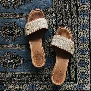 Eric Javits Woven Slide Leather Kitten Sandals